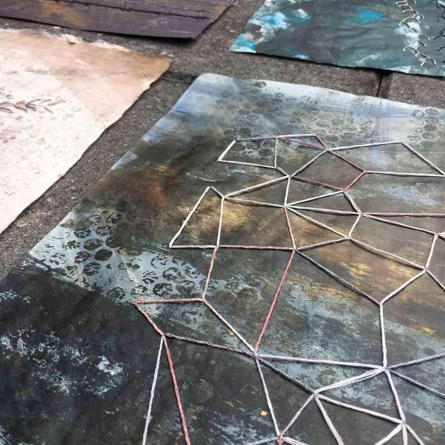 Black sand works on paper detail