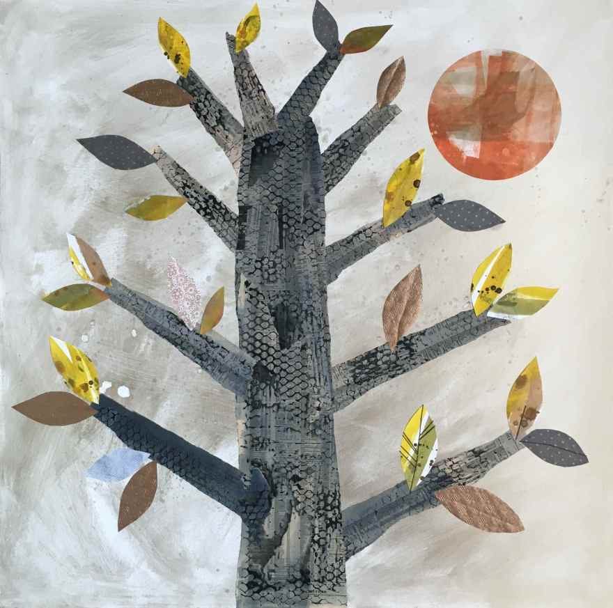 Burning tree mixed media and embroidery on canvas
