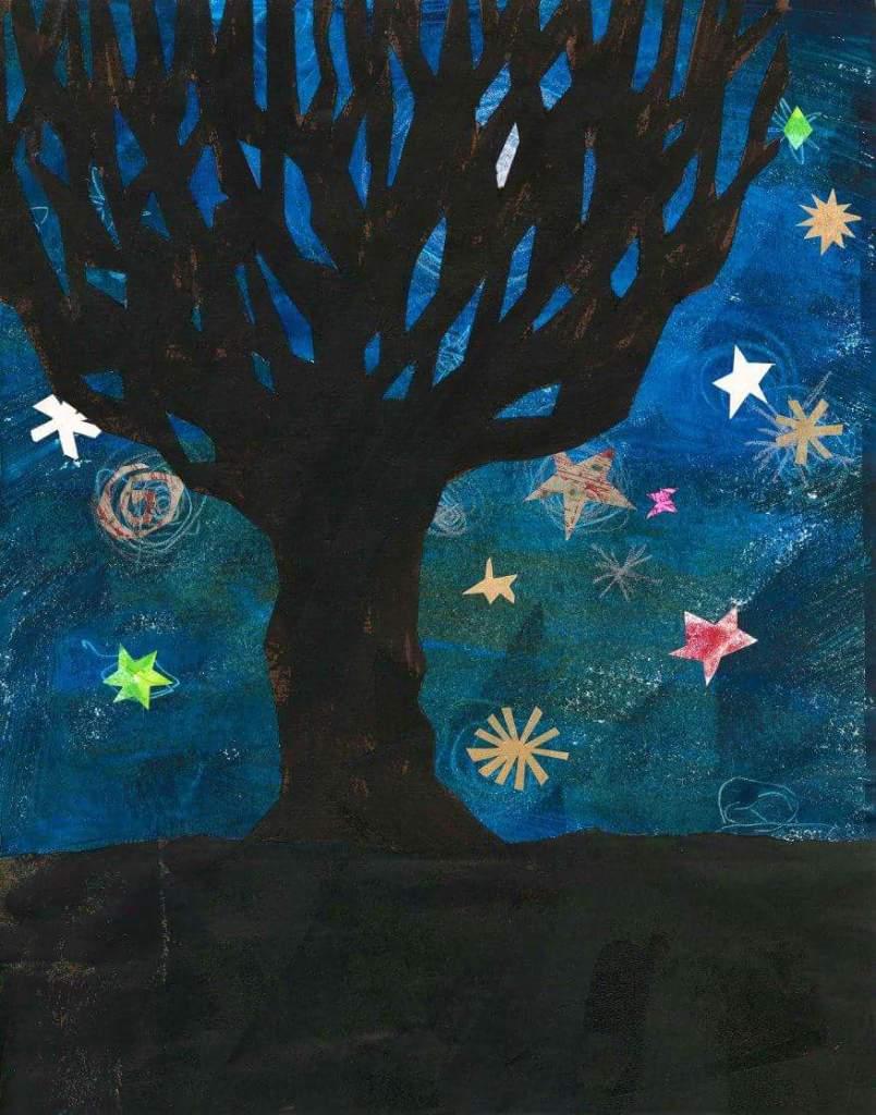 Collage tree illustration January