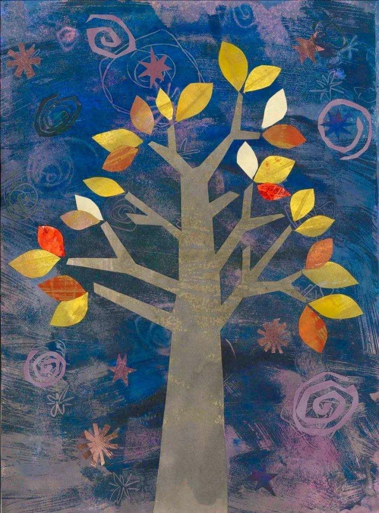 Collaged tree illustration November