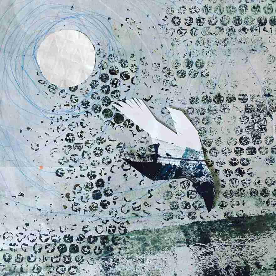 Crow and moon collage