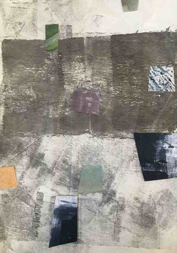 Grey and blue mixed media collage tipping point