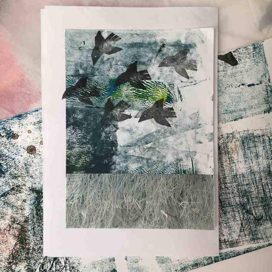 Illustration birds mixed media
