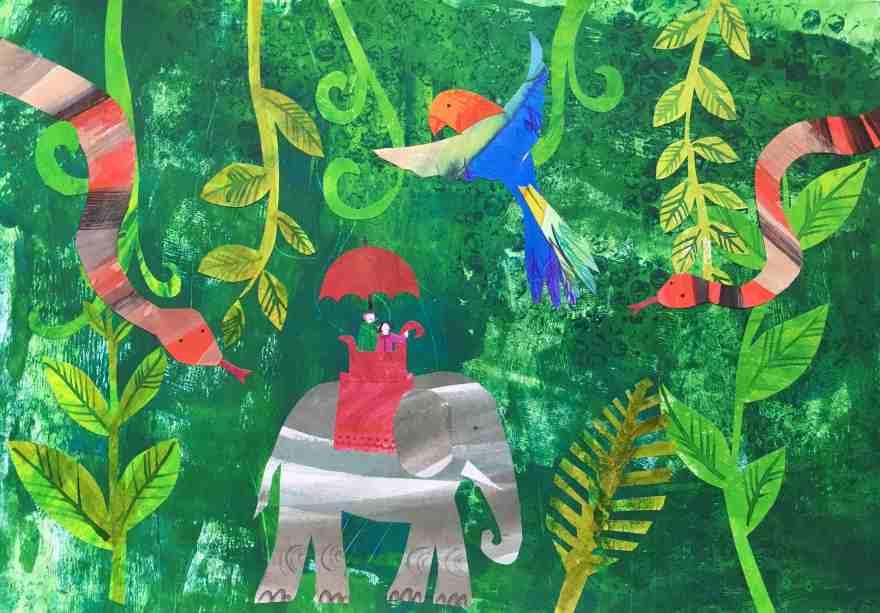 Illustration collaged jungle animals