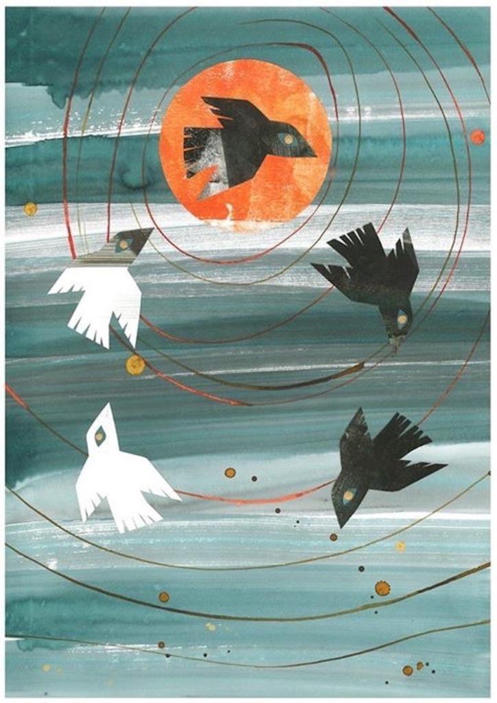 Illustration how crow became black