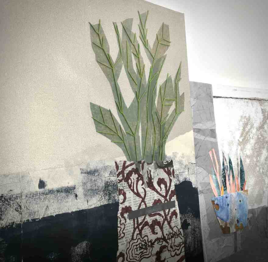 Mixed media and embroidery on canvas botanicals series