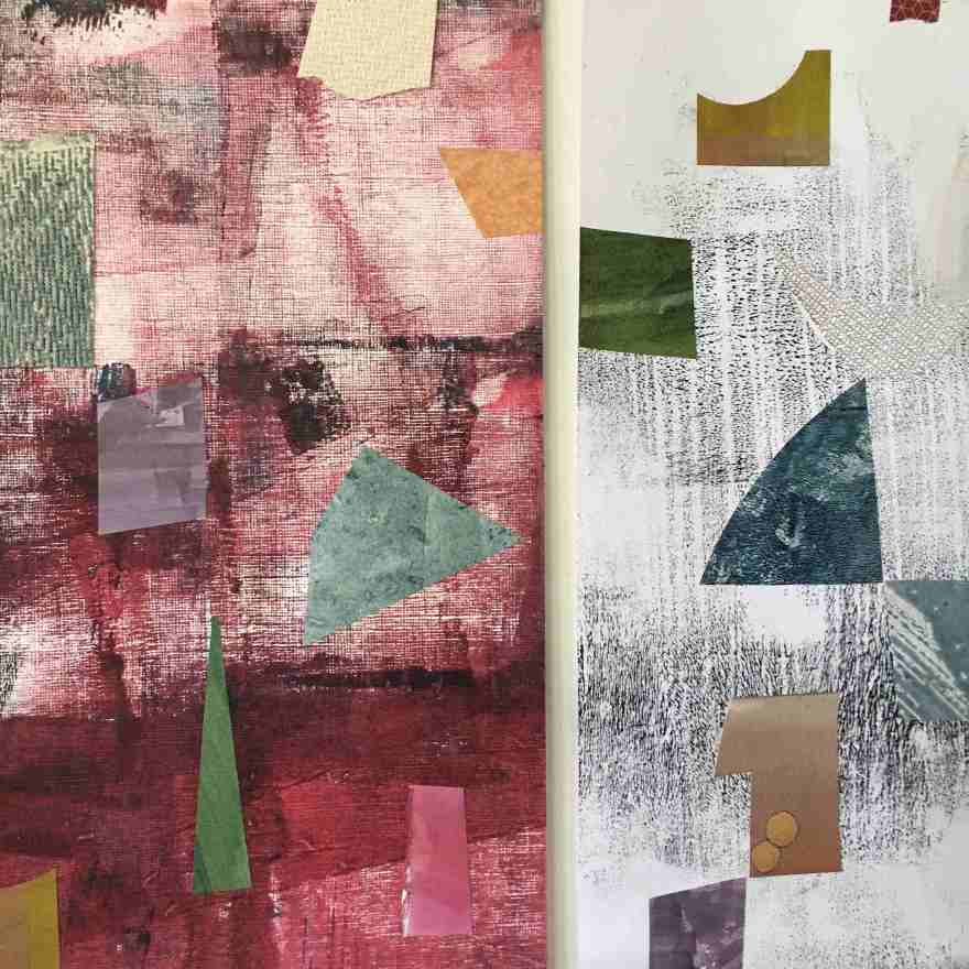 Mixed media collage abstract forms