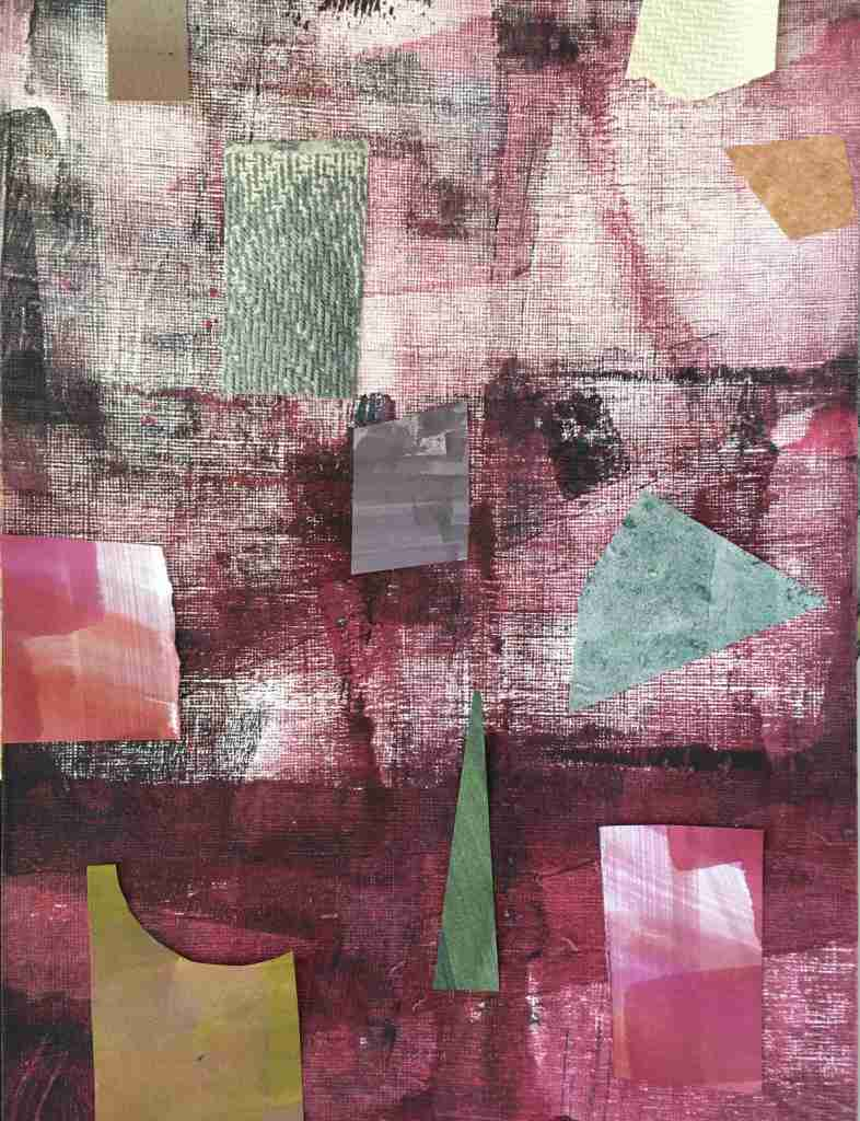 Mixed media collage in carmine and greens