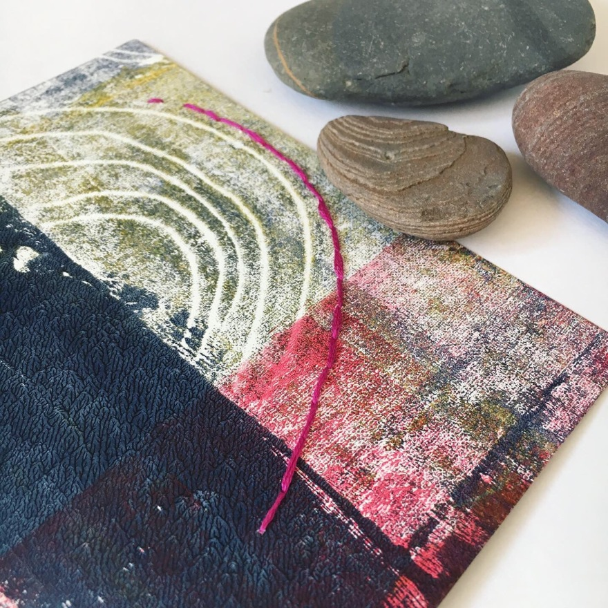 Monoprint and embroidery on paper with inspiration