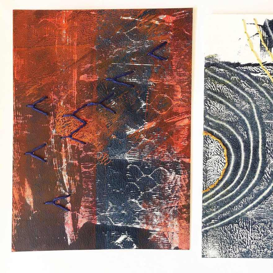 Monoprint and embroidery on paper