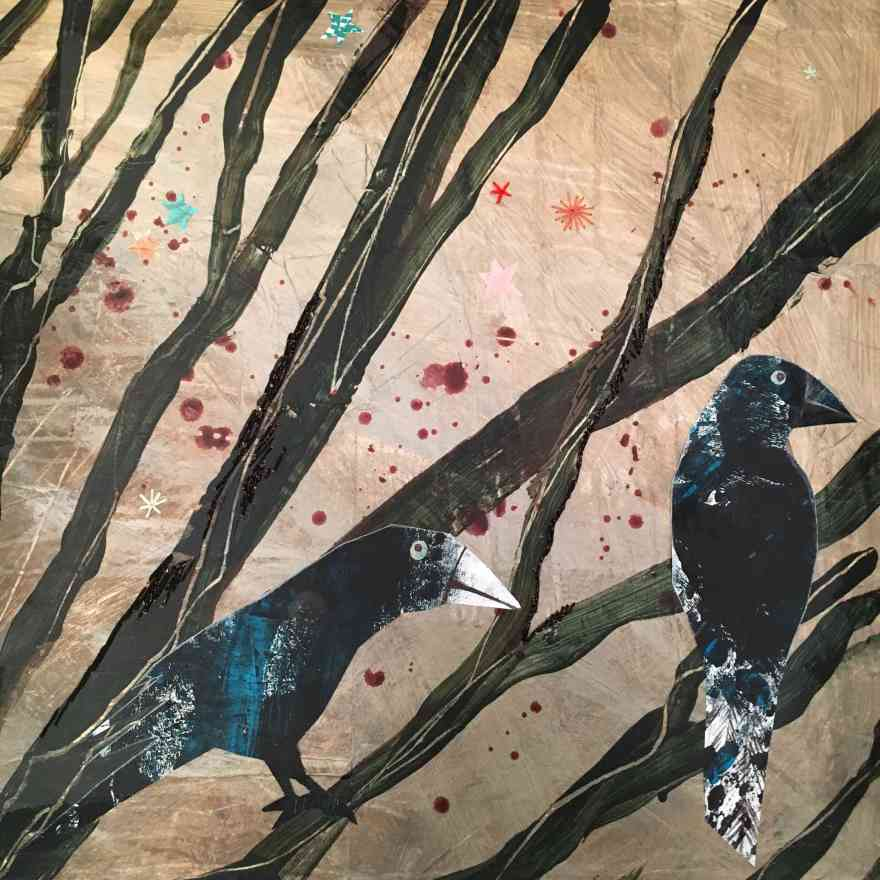 Two crows embroidery on canvas