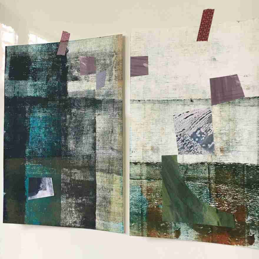 Two mixed media works in blues and mauve
