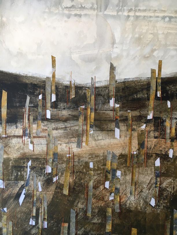 Mixed media abstract landscape
