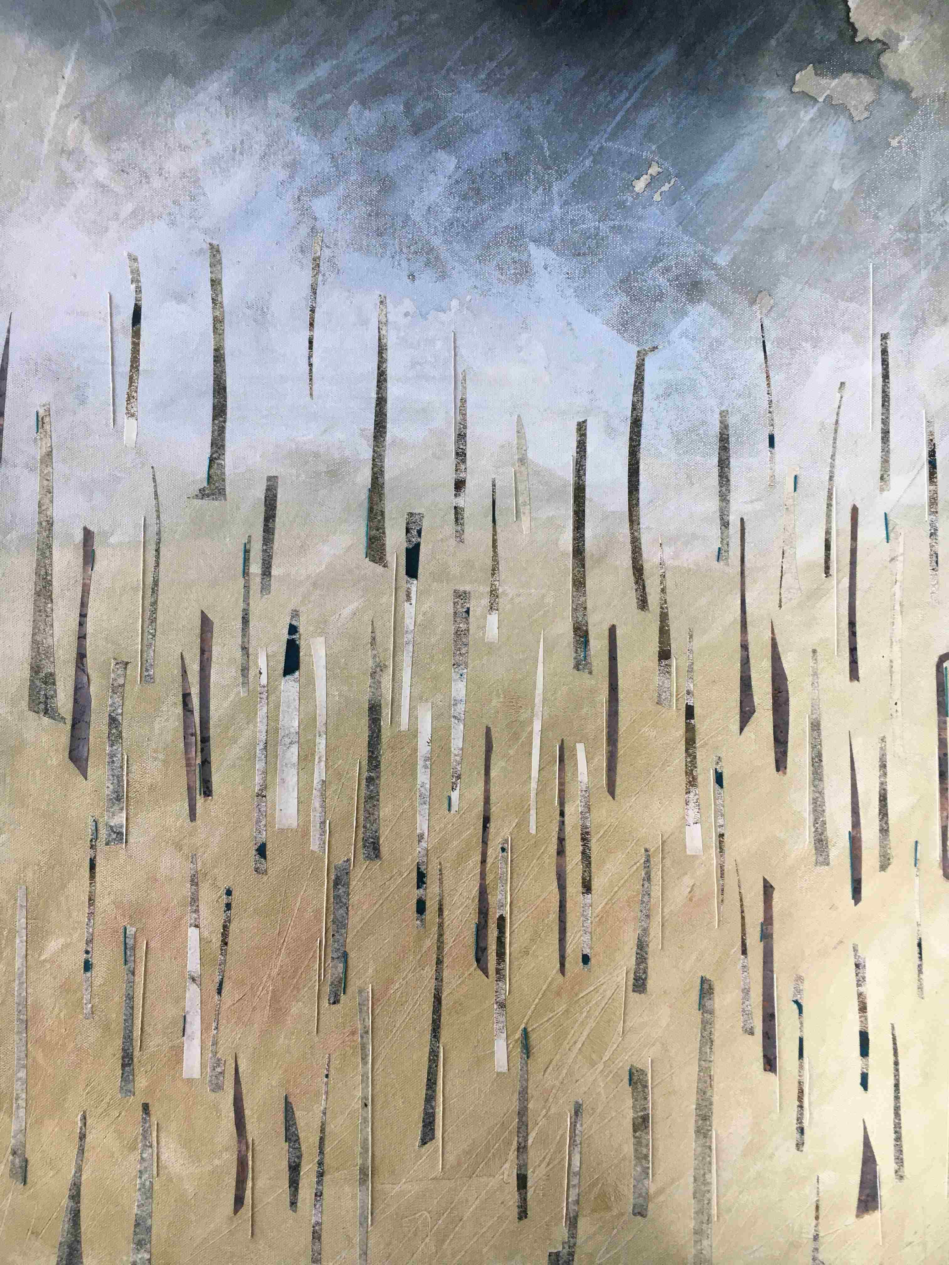 Mixed media and embroidery on canvas abstract landscape