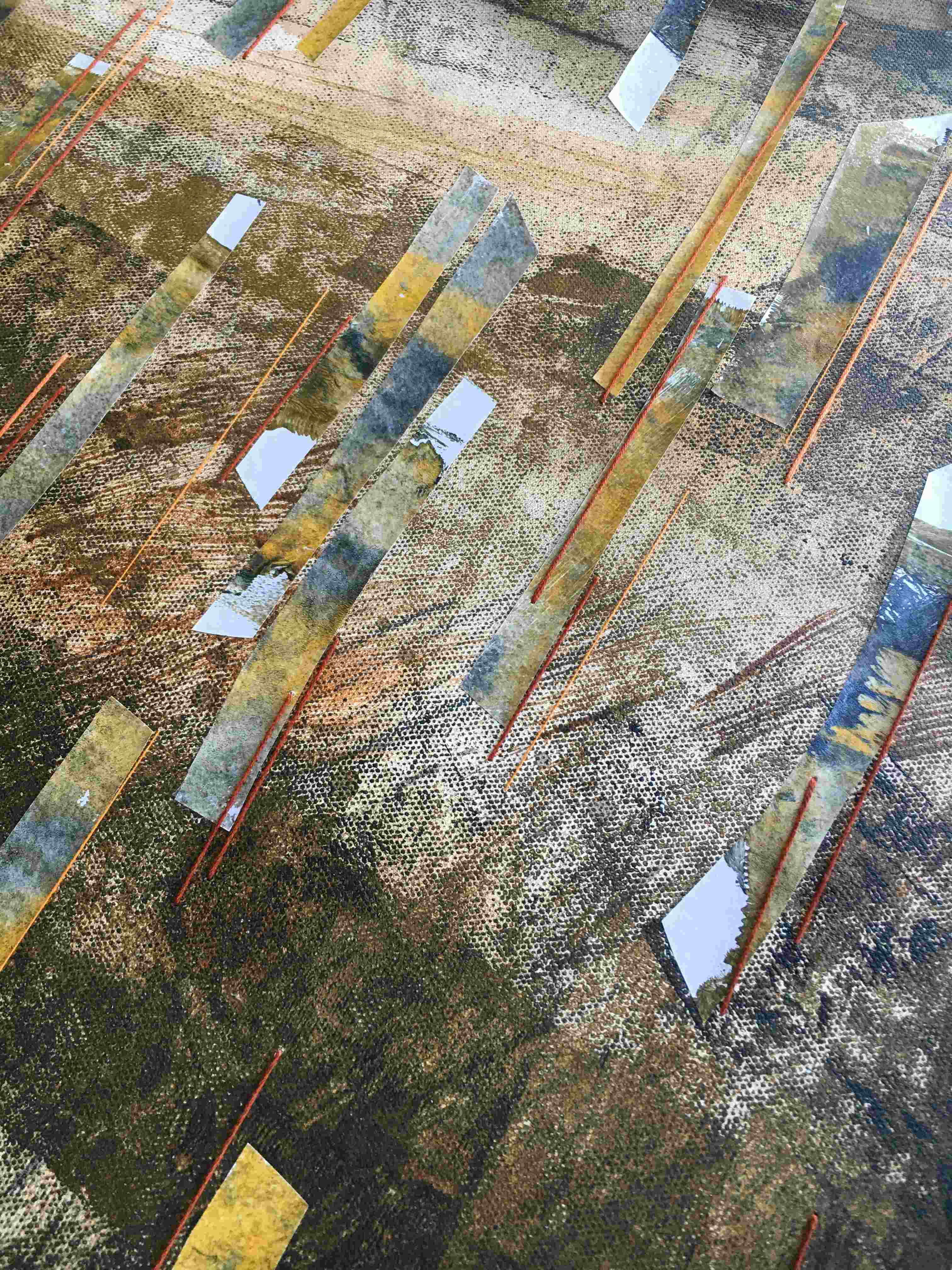 Mixed media on canvas abstract landscape detail
