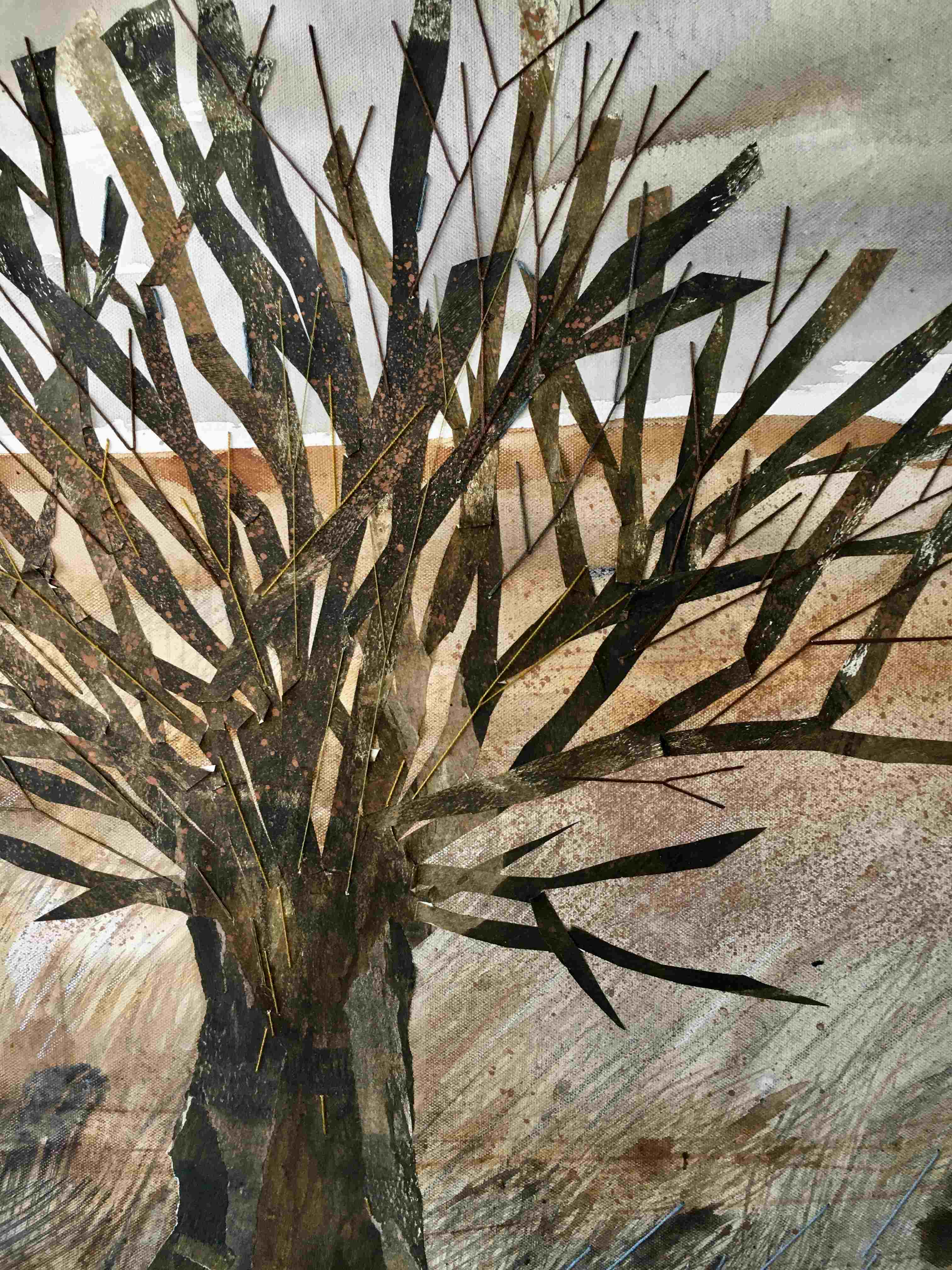 Mixed media on canvas landscape